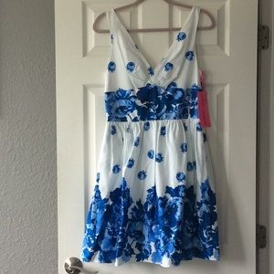 Betsey Johnson fit & flare blue floral dress